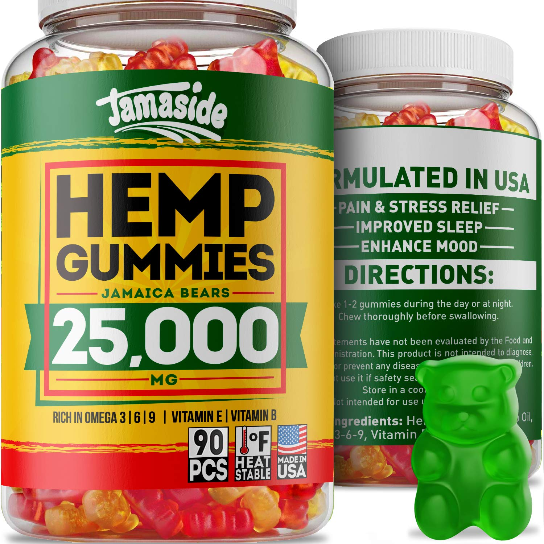 Hemp Gummies 25000 MG- Made in USA - 180 MG Hemp in Each Gummy - Premium Hemp Extract - CO2 Extraction - Omega 3, 6, 9 - Anxiety & Stress Relief - Sleep & Mood Improvement by Jamaside