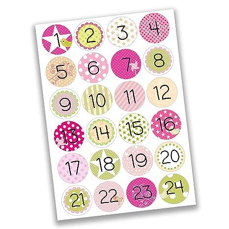 Creer Calendrier Photo.24 Autocollants Avec Numero Pour Calendrier De L Avent Rose Vert Pour Les Filles Nr 14 Autocollants Pour Creer Ou Decorer