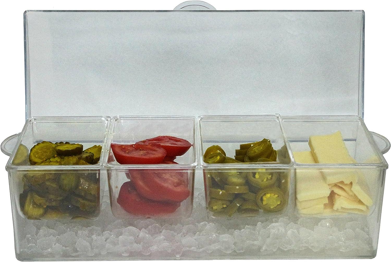 Oaklyn Organizador del servidor de condimentos en hielo con contenedores y tapa porción y caja de plástico bandeja 20 onzas grande Transparente