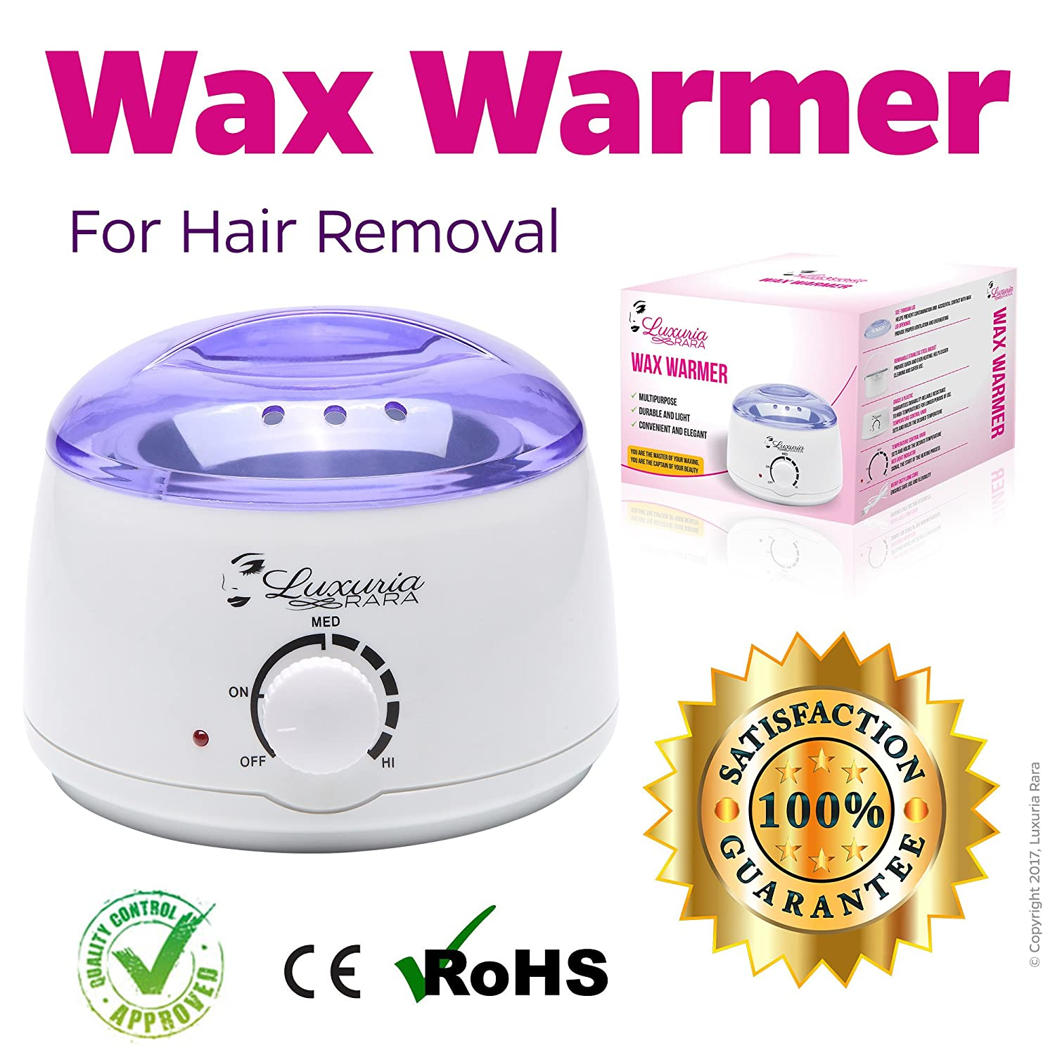 Luxuria Rara Wax Warmer Melting Pot Electric Hot Wax Heater for Facial Hair Removal Total Body Brazilian Waxing Salon or Self-waxing Portable Plug in Full Size Single Paraffin Can and All Types of Hair Removal Wax LR-101