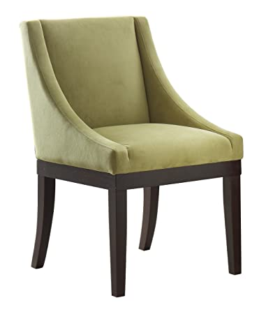 AVE SIX Monarch Uphosltered Wingback Chair With Solid Wood Legs, Basil  Velvet