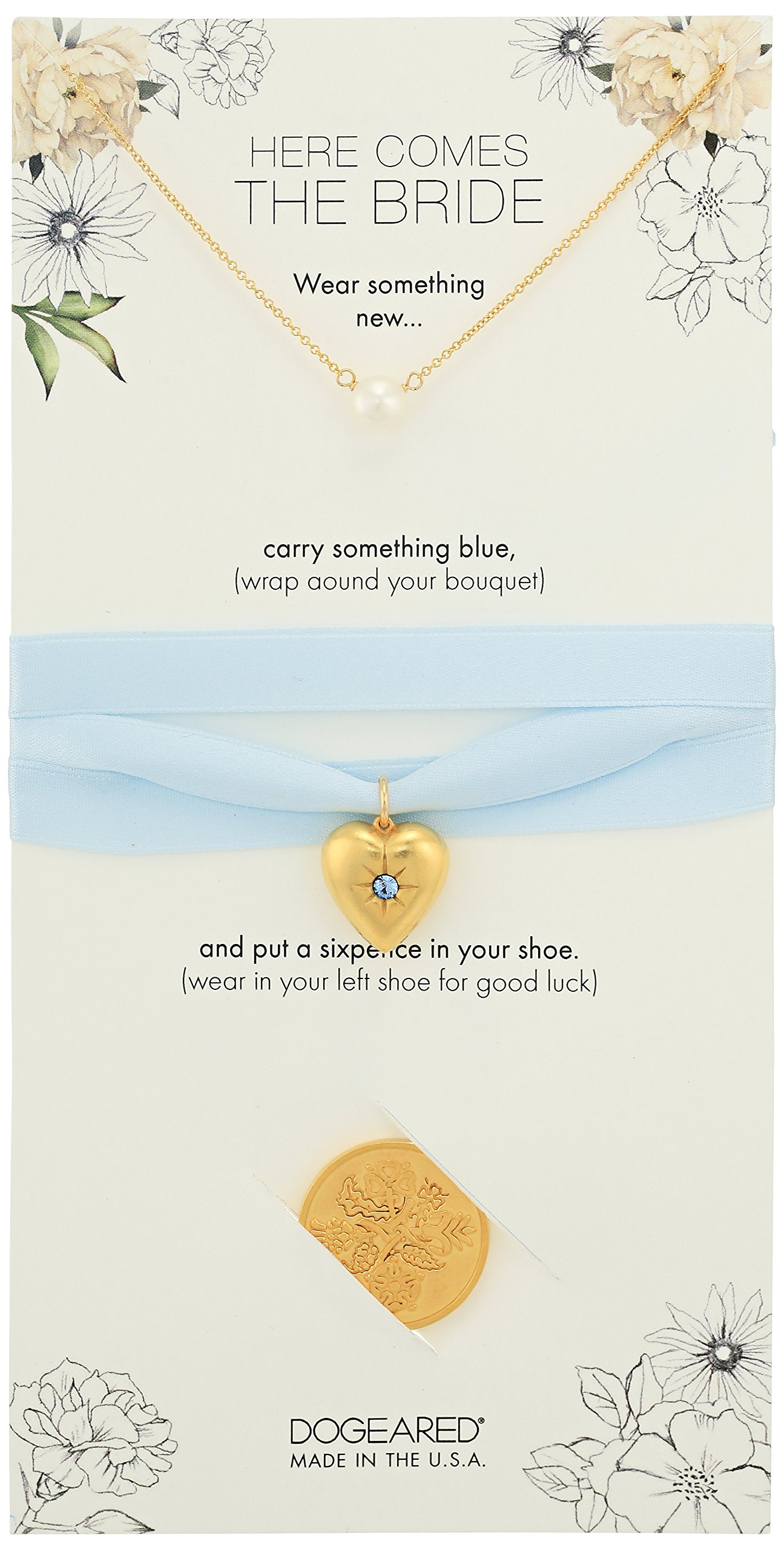 Dogeared Here Comes The Bride Small Pearl Necklace, 6 Pence Gold, 16'' + 2'' Extension