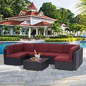 Kinsunny 7 PCs Outdoor Patio Sectional Set Black Rattan Wicker Furniture Sofa Set Conversation Chairs Thick Cushions with Pillows and Tea Table