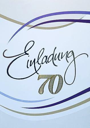 Einladungskarten 70. Geburtstag Frau Mann Mit Innentext Motiv Weiß Streifen  10 Klappkarten DIN A6 Im