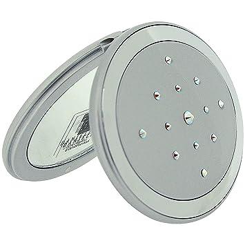 16cc3e9429 Amazon.com : Danielle Silver Compact Mirror Oval made with Swarovski  Crystals 5 x Magnification SC965 : Beauty