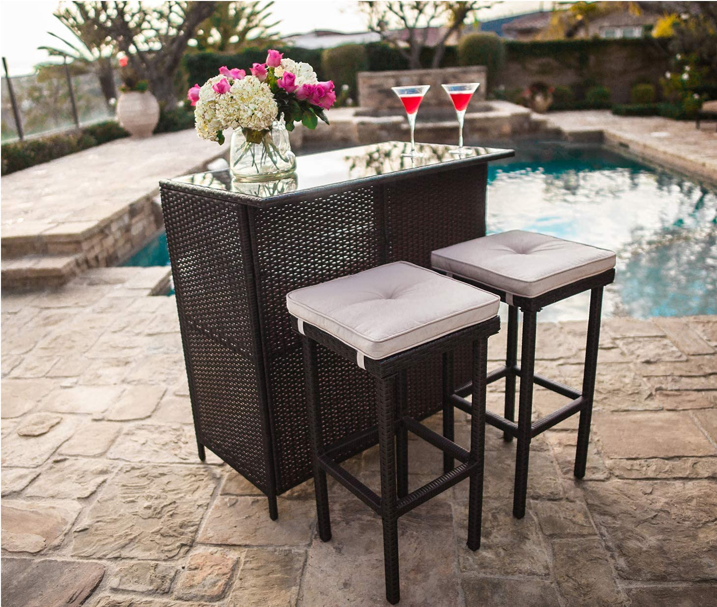 SUNCROWN Outdoor Bar Set 3-Piece Brown Wicker Patio Furniture – Glass Bar and Two Stools with Cushions for Patios, Backyards, Porches, Gardens or Poolside