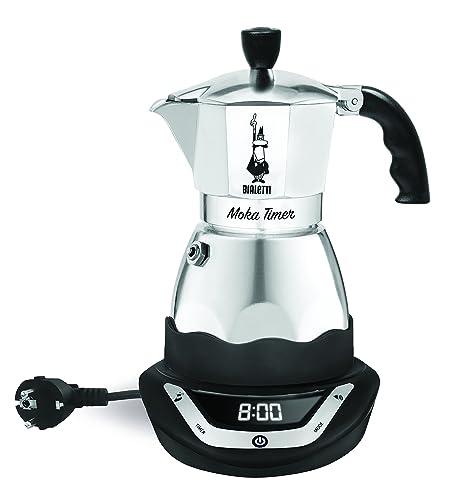 Bialetti Moka Timer, cafetera de aluminio con base eléctrica que se puede programar, 6 tazas