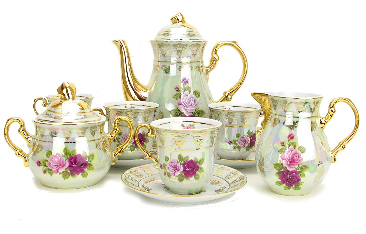 Euro Porcelain 17-Pc. Vintage Pink & Red Roses Tea Cup Coffee Set, White Pearlescent Floral Pattern with 24K Gold-Plated, Complete Service for 6, Original Czech Tableware Euro Porcelain Collection 588WF-17
