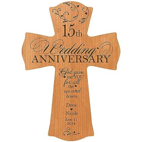 personalized 15th wedding anniversary wood wall cross