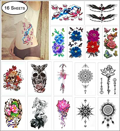 eea22e441 Amazon.com : COKOHAPPY 16 Sheets Large Temporary Tattoo for Girl Women Arm  Shoulder Flower, Lotus, Dream Catcher, Mandala, Butterfly, Mermaid, ...