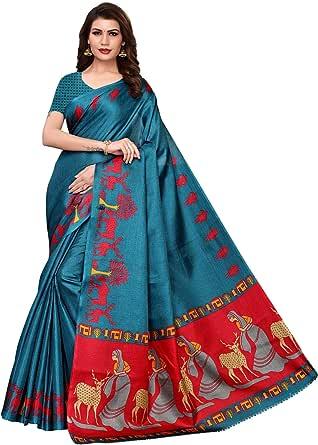 CRAFTSTRIBE Khadi Silk Printed Traditional Dress Bollywood Party Wear Indian Ethnic Sari Women Clothing Saree