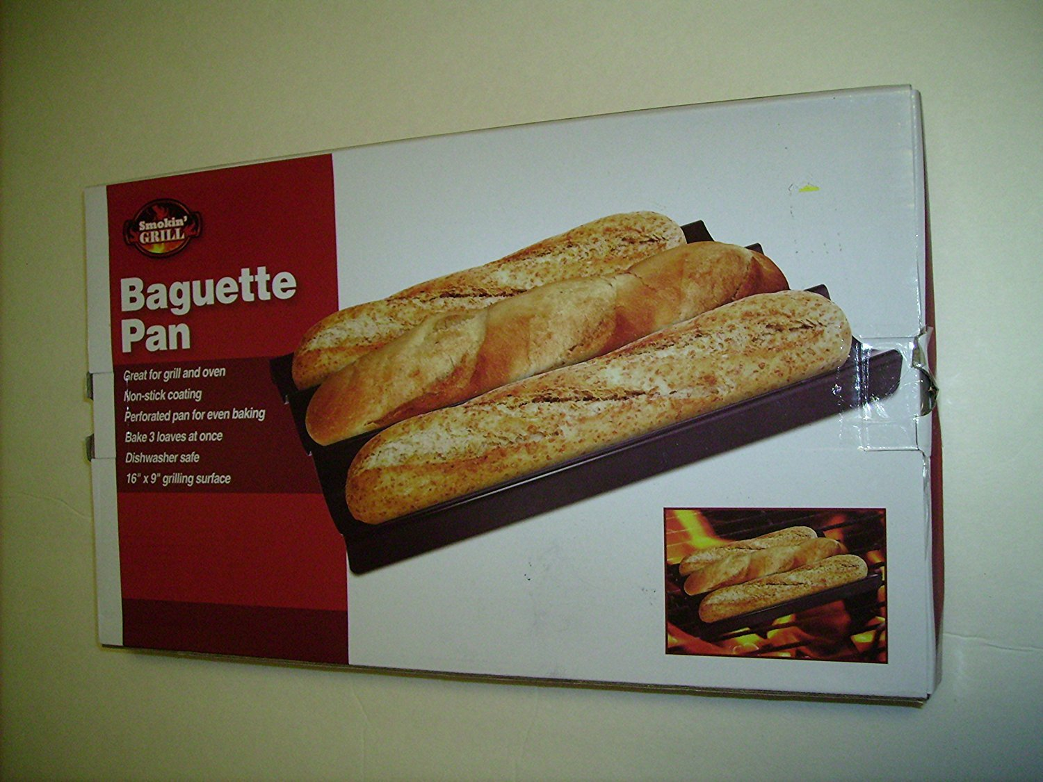 Smokin Grill 3-LOAF BAGUETTE PAN -NON-STICK For Every Day Usage NV-03625