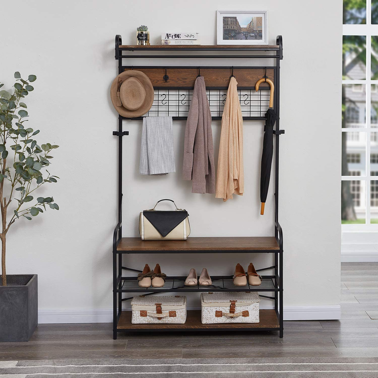 Homissue 5-In-1 Entryway Hall Tree with Shoe Bench, Coat Rack with 11 Hooks and 2 Hanging Rods, Grid Panel for Memo and Photo Display, Brown Finish