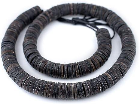 Matte Black Shell Heishi Beads 16mm 32 Inch Strand