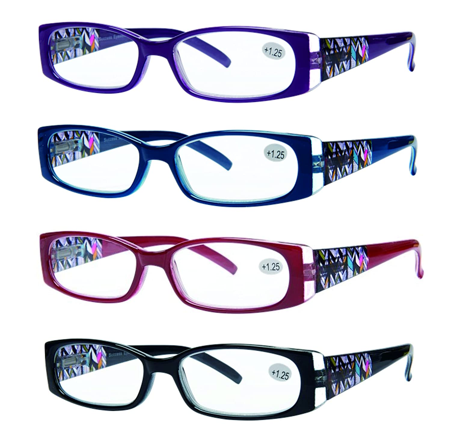 Amazon.com: READING GLASSES 4 Pack Quality Readers Spring Hinge ...