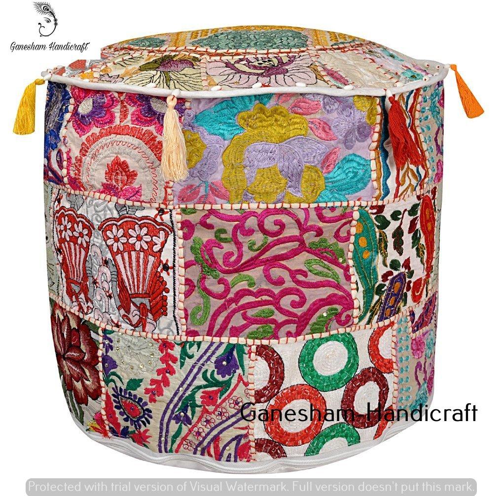 GANESHAM HANDICRAFT Indian Handgefertigt Wohnzimmer Deko Fuß Hocker Pouf Bezug Baumwolle Stuhl, Vintage Patchwork osmanischen, rund Boden Pouf, Hand embroidred Pouf Polsterhocker