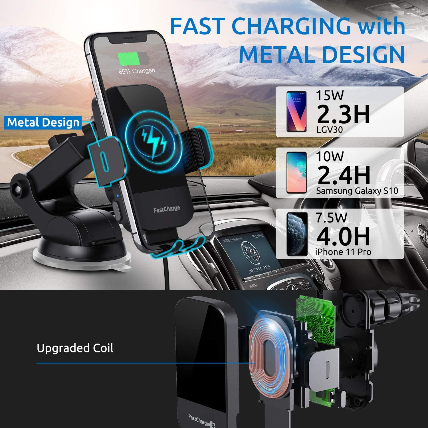 ChGeek wireless car phone holder with car charger