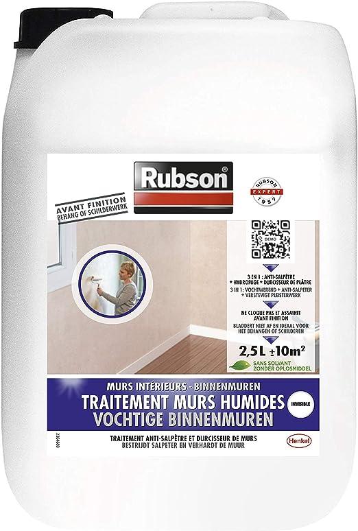 Rubson Traitement Murs Humides Traitement 3 En 1 Anti Salpêtre Hydrofuge Et Durcisseur De Plâtre Pour Tous Supports Sur Mur Intérieurs Produit