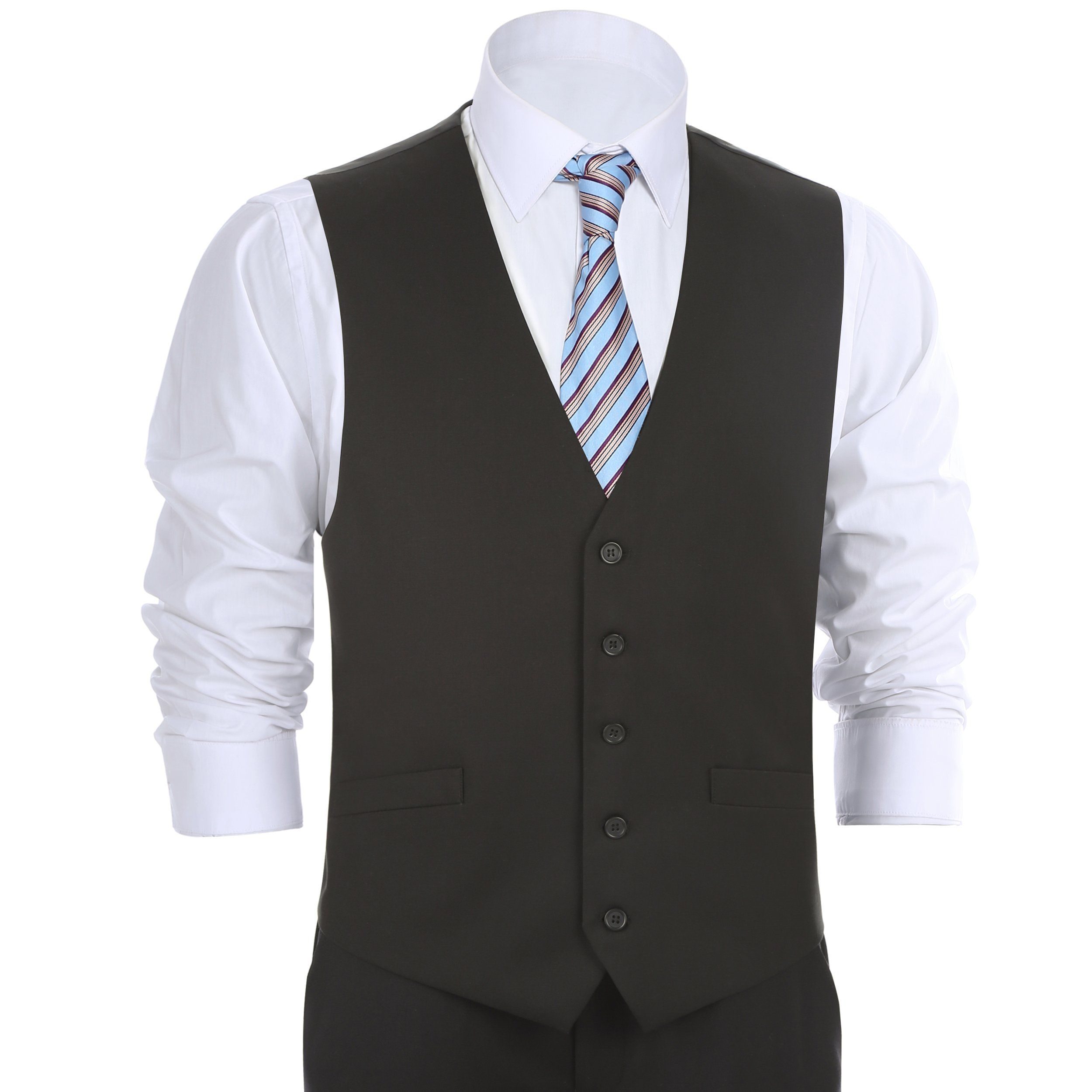 Chama Men's Formal Classic Fit Business Dress Suit Button Down Vest Waistcoat(48 Regular,Black)