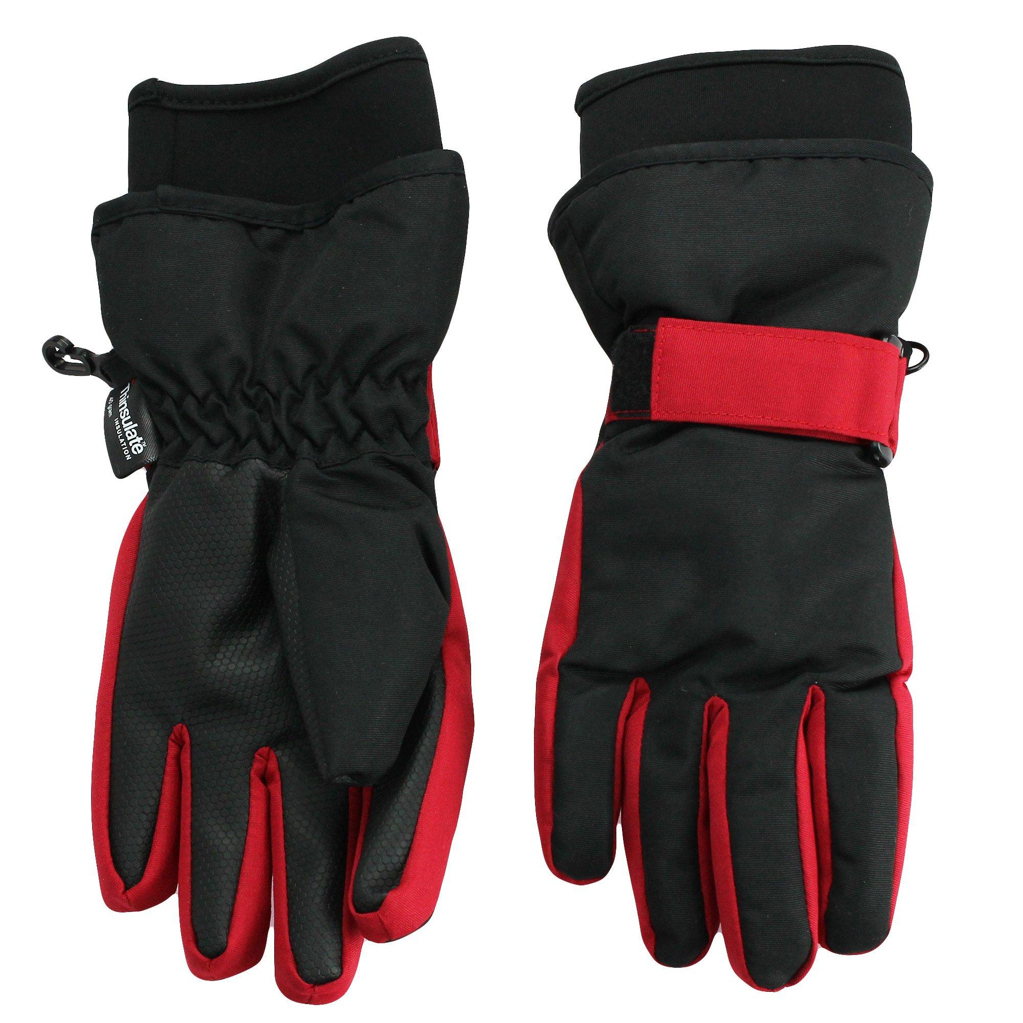 Nolan Gloves Big Boys' Sn'Owen Neoprene Cuff Ski Glove, Red/Black, Large/X-large
