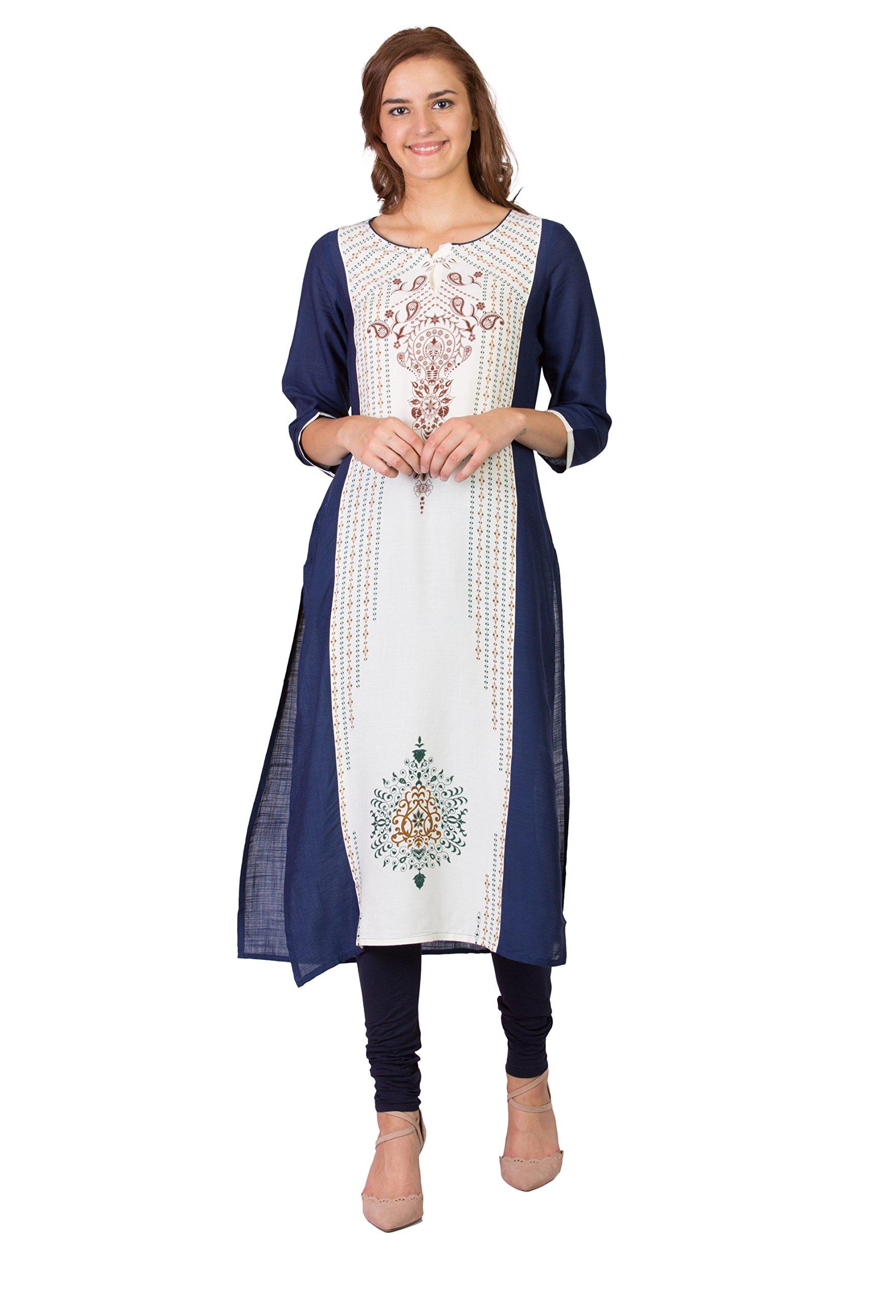 SABHYATA Women Kurta Designer Ethnic Long Dress Casual Tunic Kurti for Women Ladies Partywear Material 100% Pure Cotton Neck Type Round Neck X-Large Off-White/Blue