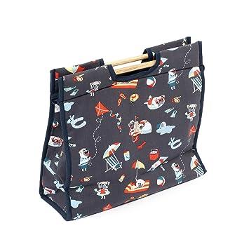Mops Muster Klassisches Nähen Tasche Mehrfarbige auf dunkelgrauem ...