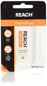 Reach Dentotape Waxed Dental Floss with Extra Wide Cleaning Surface for Large Spaces between Teeth, Unflavored, 100 Yards (Pack of 4)