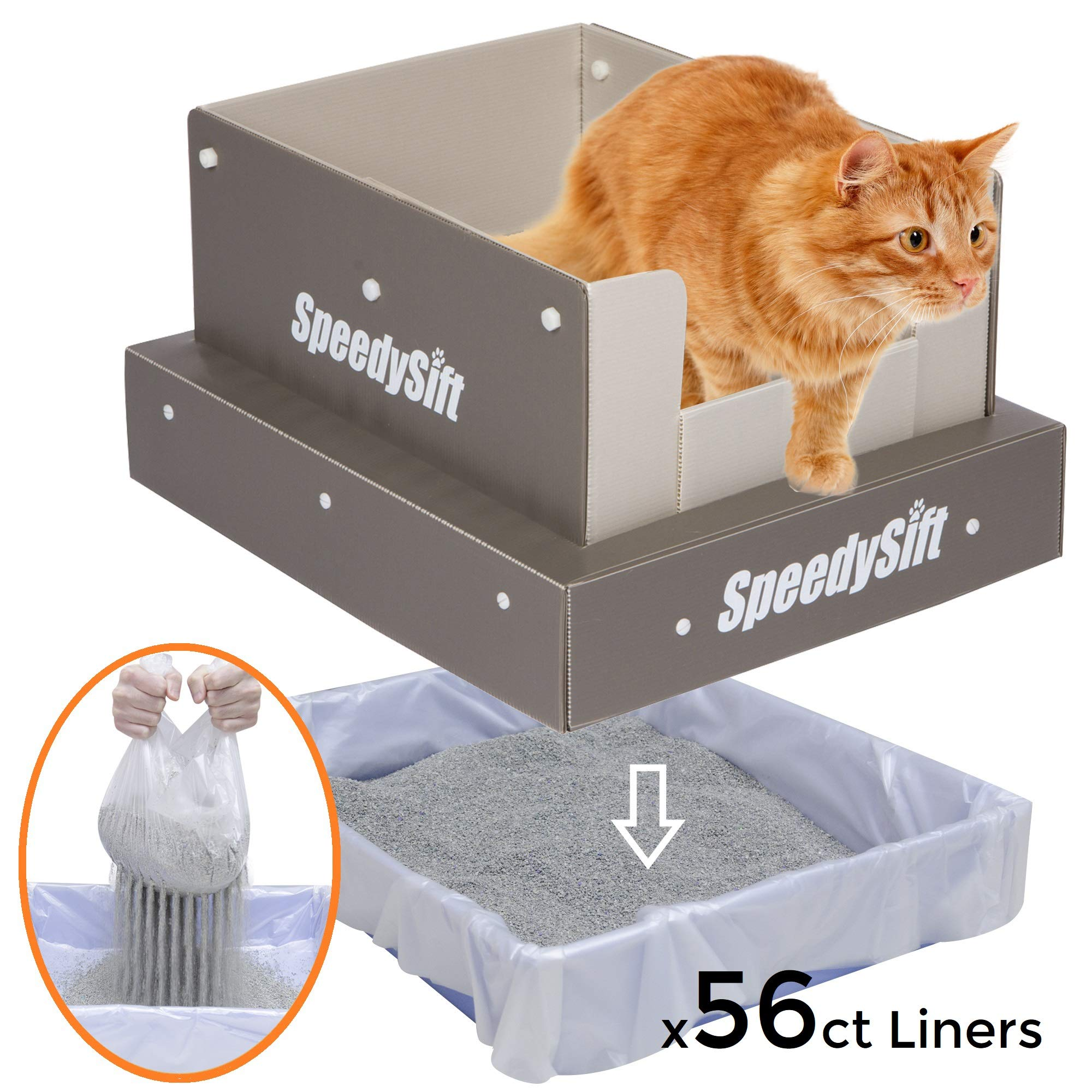 SpeedySift Mess-Free Cat Litter Box with Improved Sifting Liners, Cats' Favorite Box-Like (100% Plastic) High Sides, Large by SpeedySift