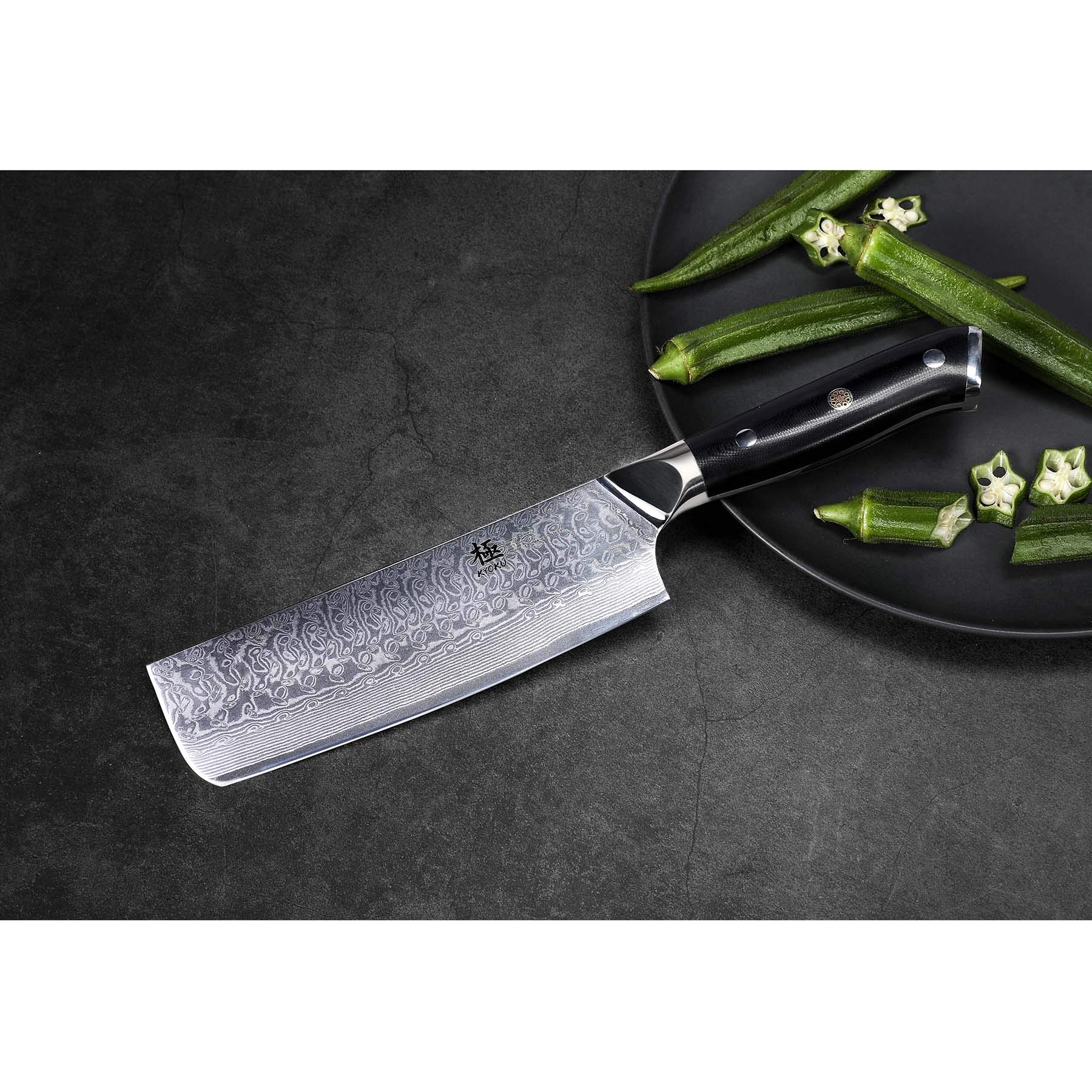 KYOKU Daimyo Series - 6-Inch Nakiri Vegetable Chef Knife with Sheath Case - Japanese VG10 Steel Core 67-Layer Forged Damascus Blade - Full Tang - G10 Handle with Mosaic Pin by KYOKU (Image #5)