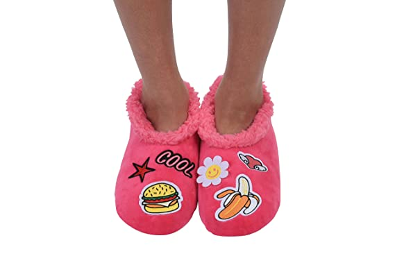 71b62a77b44 Snoozies Womens Cozy Groovy Applique Patches Non Skid Slipper Socks ...