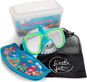 Little Lot Swimming Goggles for Kids 3-14, Silicon with Anti-Fog and UV Protection - No-Leak, Latex-Free Diving Mask with Carry Bag for Snorkeling - Fun, Adjustable Swimming Accessories for Boy, Girl