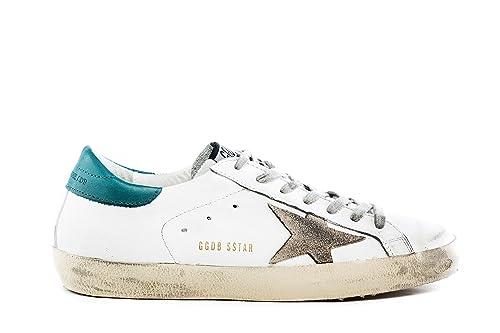 d0451df35dc74 GOLDEN GOOSE scarpe sneakers uomo vintage SUPERSTAR G30MS590.B33 in pelle  bianco verde 41  Amazon.it  Scarpe e borse