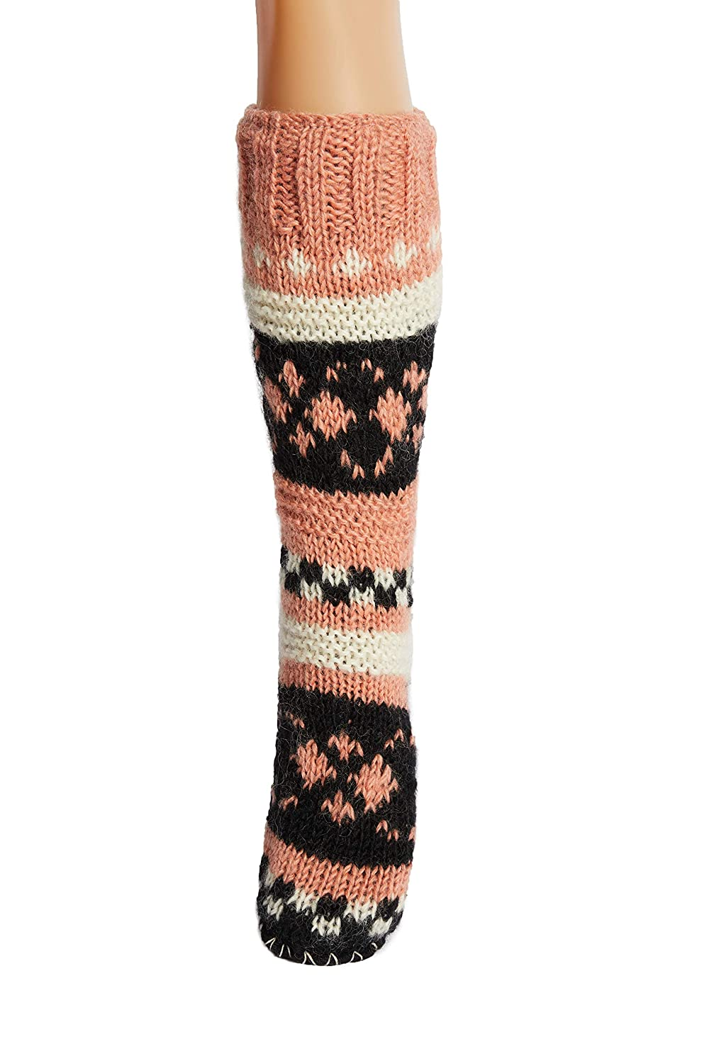 95cfa18a71586 Hand Knit Wool Fleece Lined Long Slipper Socks | Tibetan Socks