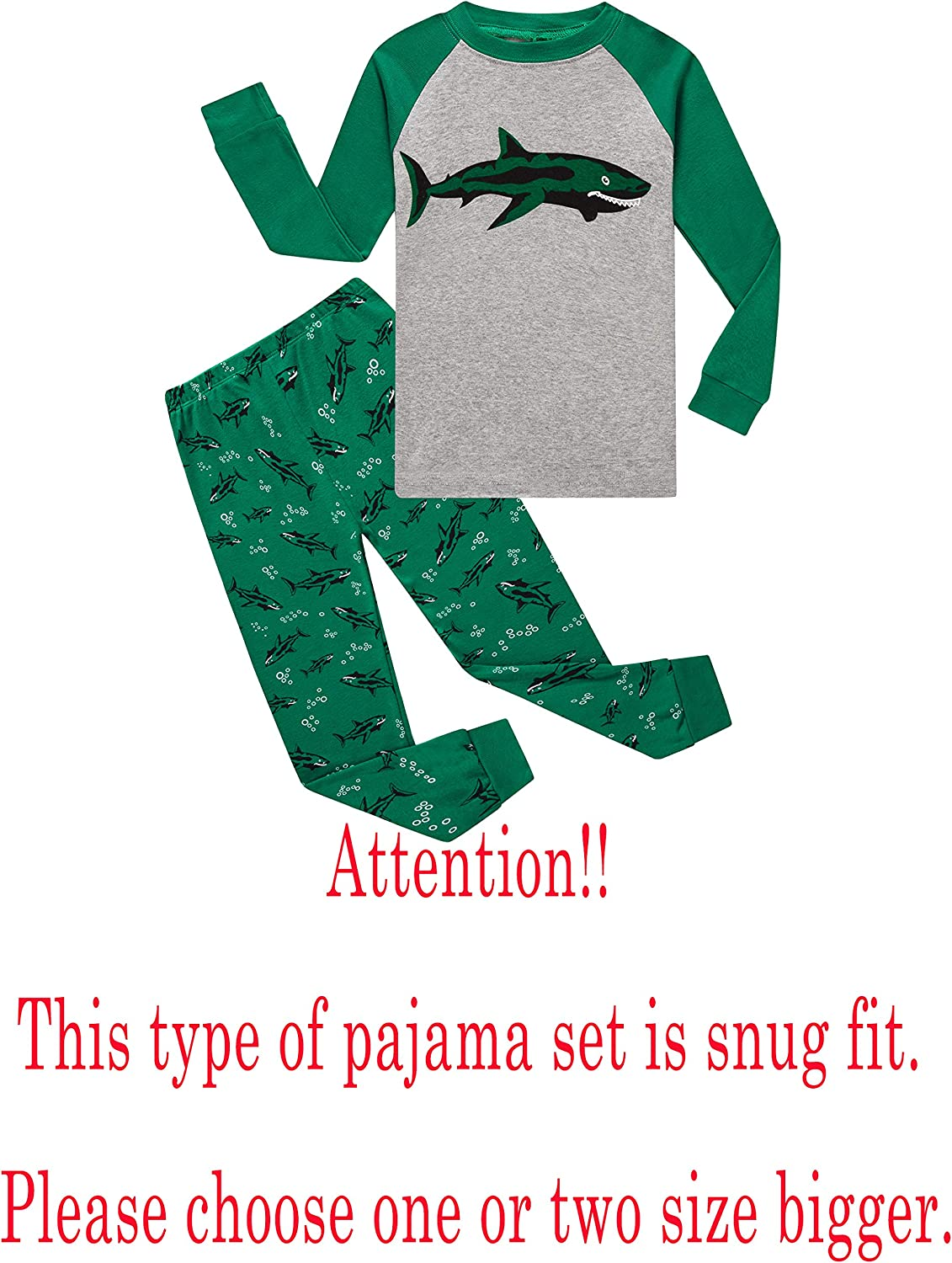 Family Feeling Dinosaur Little Boys Kids Pajamas Sets 100/% Cotton Pjs