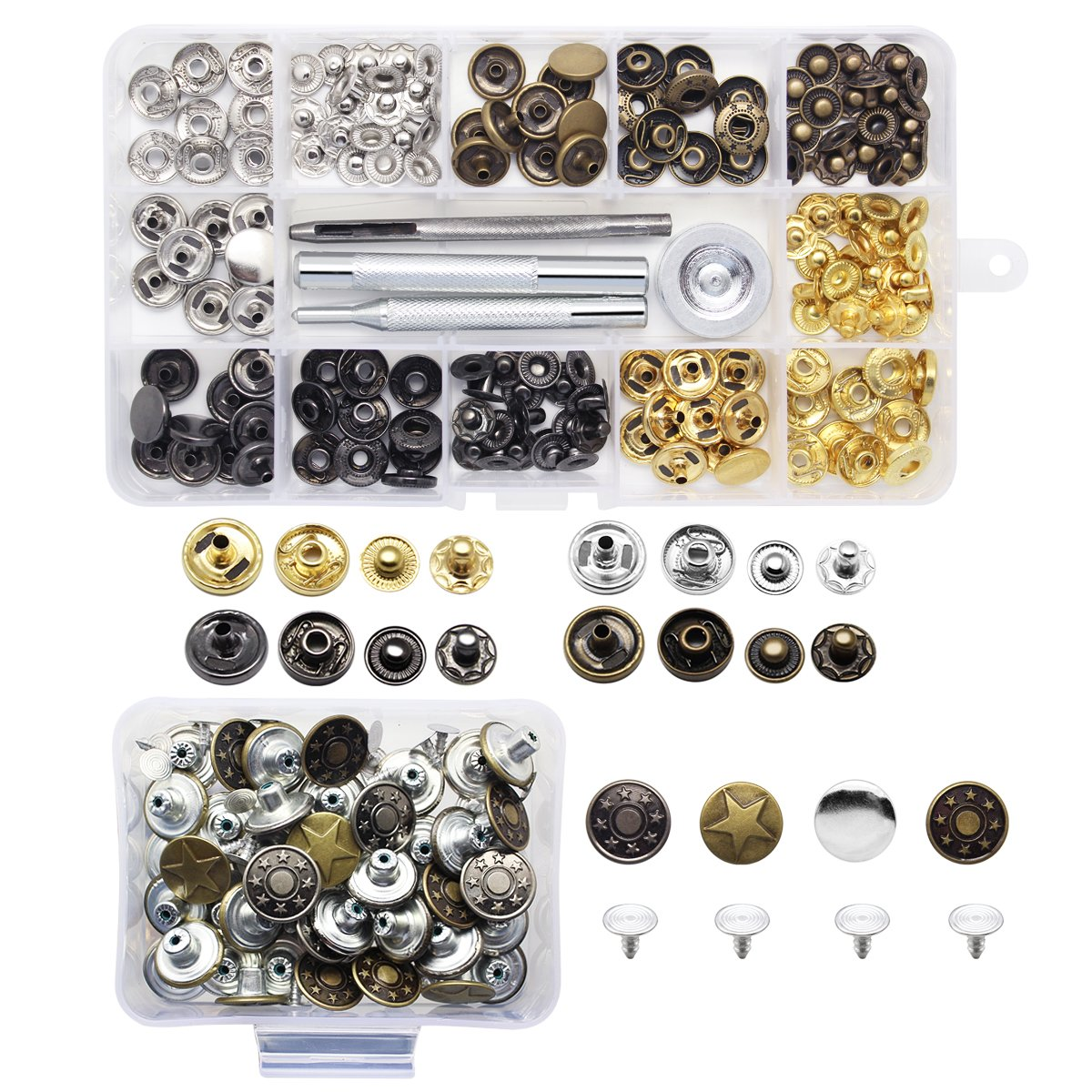 Yotako 40x 12mm Jeans Button Tack Buttons Metal Replacement Kit + 40x 12mm Metal No Sewing Popper Button Snap Fasteners Kit For Leather Clothing Wallet 4337006087