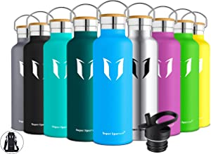 Super Sparrow Stainless Steel Vacuum Insulated Water Bottle, Double Wall Design,Standard Mouth - 500ml & 750ml - BPA Free - with 2 Exchangeable Caps + Bottle Pouch (Sky Blue, 1000ml-32oz)