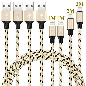 IWAVION Cable iPhone, 4 Pack 1M 1M 2M 3M Cargador iPhone Nylon Trenzado Cable para iPhone 7 7Plus SE 6s 6 Plus 5s 5c 5 se, iPad Pro Air 2, iPad Mini 4 ...