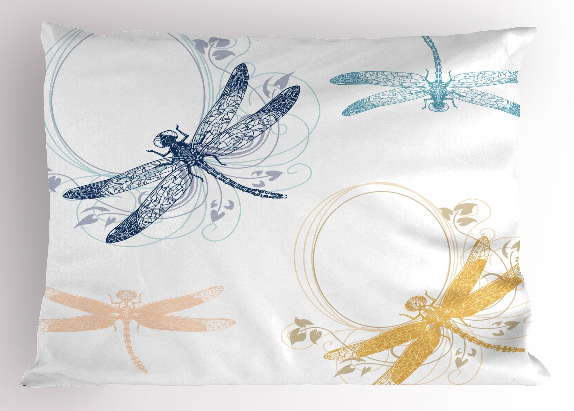 Ambesonne Dragonfly Pillow Sham, Floral Spring Bugs Wings with Flower Petals Animal Nature Elegance Artful Motif, Decorative Standard Queen Size Printed Pillowcase, 30 X 20 inches, Multicolor