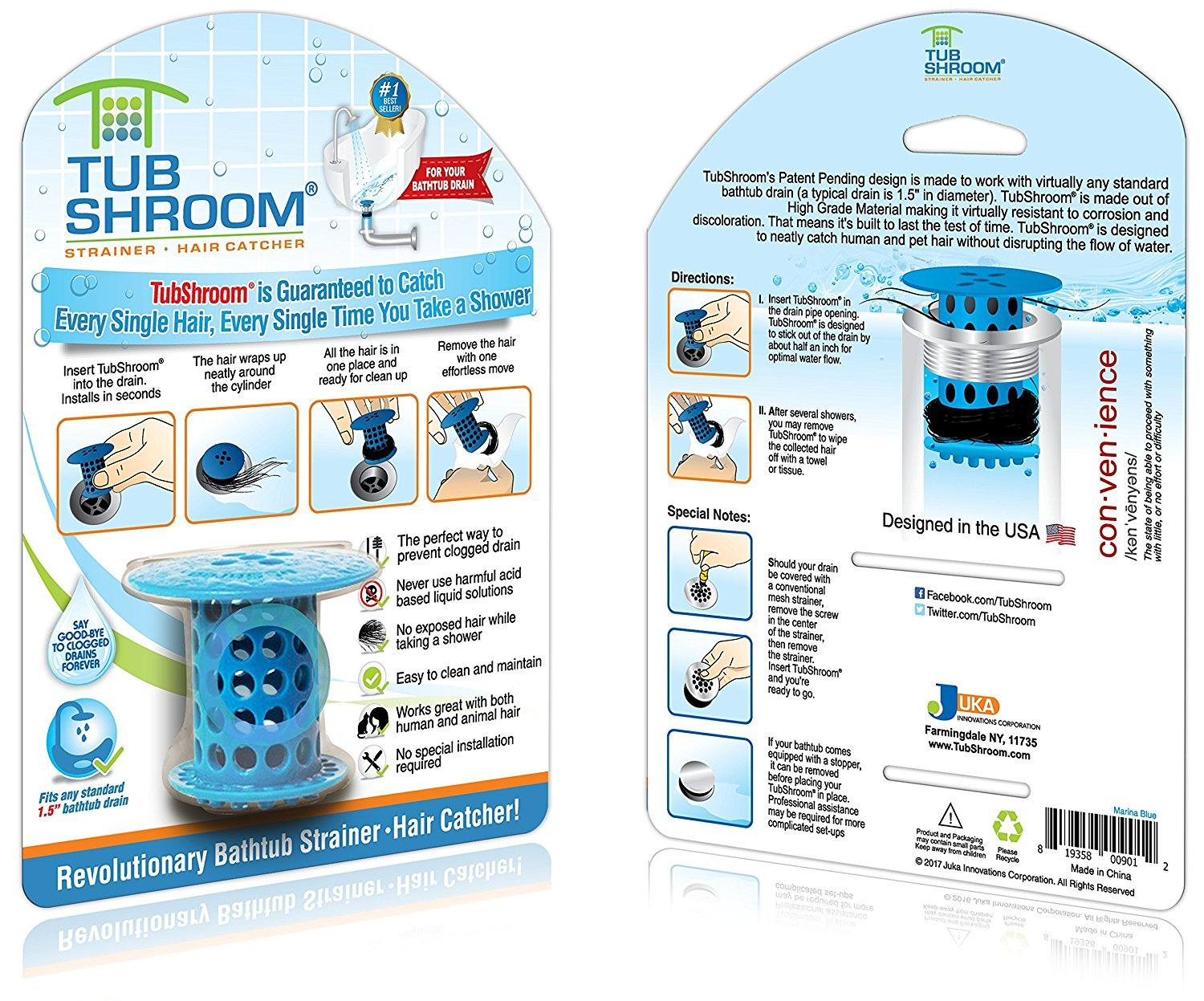 TubShroom The Revolutionary Tub Drain Protector Hair CatcherStrainerSnare Blue