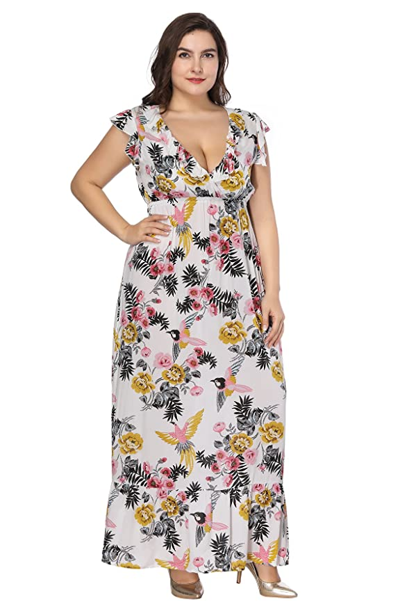 9f566c9da7f4 Amazon.com  MERRYA Women s Plus Size Boho V Neck Floral Ruffle Sleeve Wrap  Beach Maxi Dress  Clothing