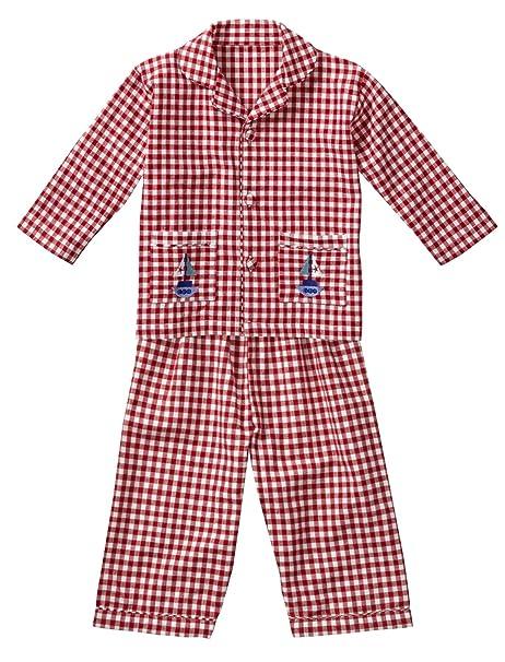 Piccalilly algodón orgánico rojo y pijama de lazo en cuadro de Unisex