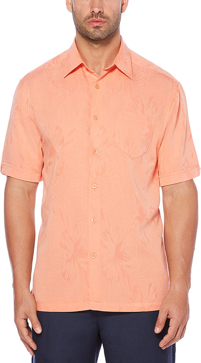 Cubavera Mens Short Sleeve Polyester L-Shape Embroidered Button-Down Shirt