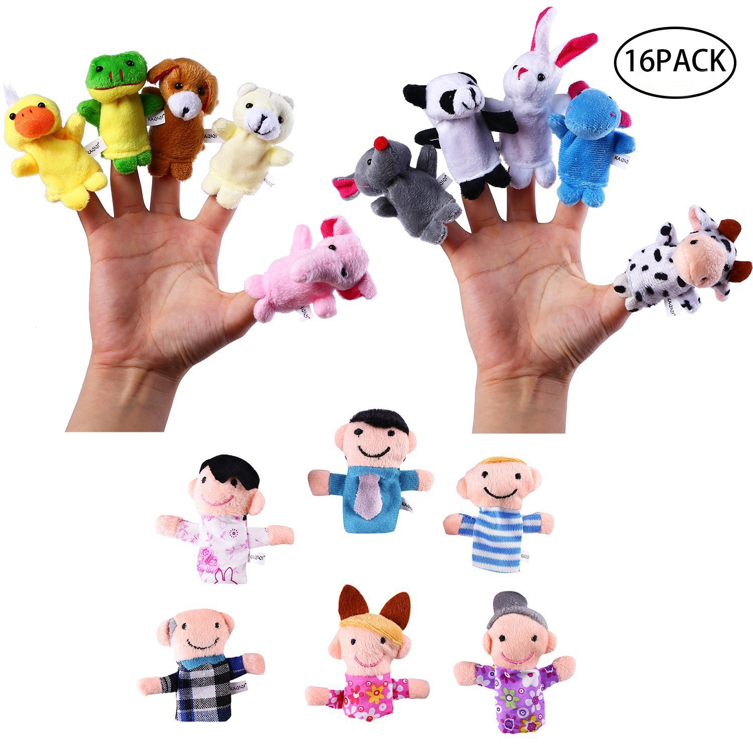 Finger Puppets Set,Velvet Soft Plush Animal People Finger Puppets, Soft Little Cartoon Plush Doll Toys for Kids toddlers Story Time Pre-School Education for Teaching Bible Story time Pack of 16 Jinhua Yiyan