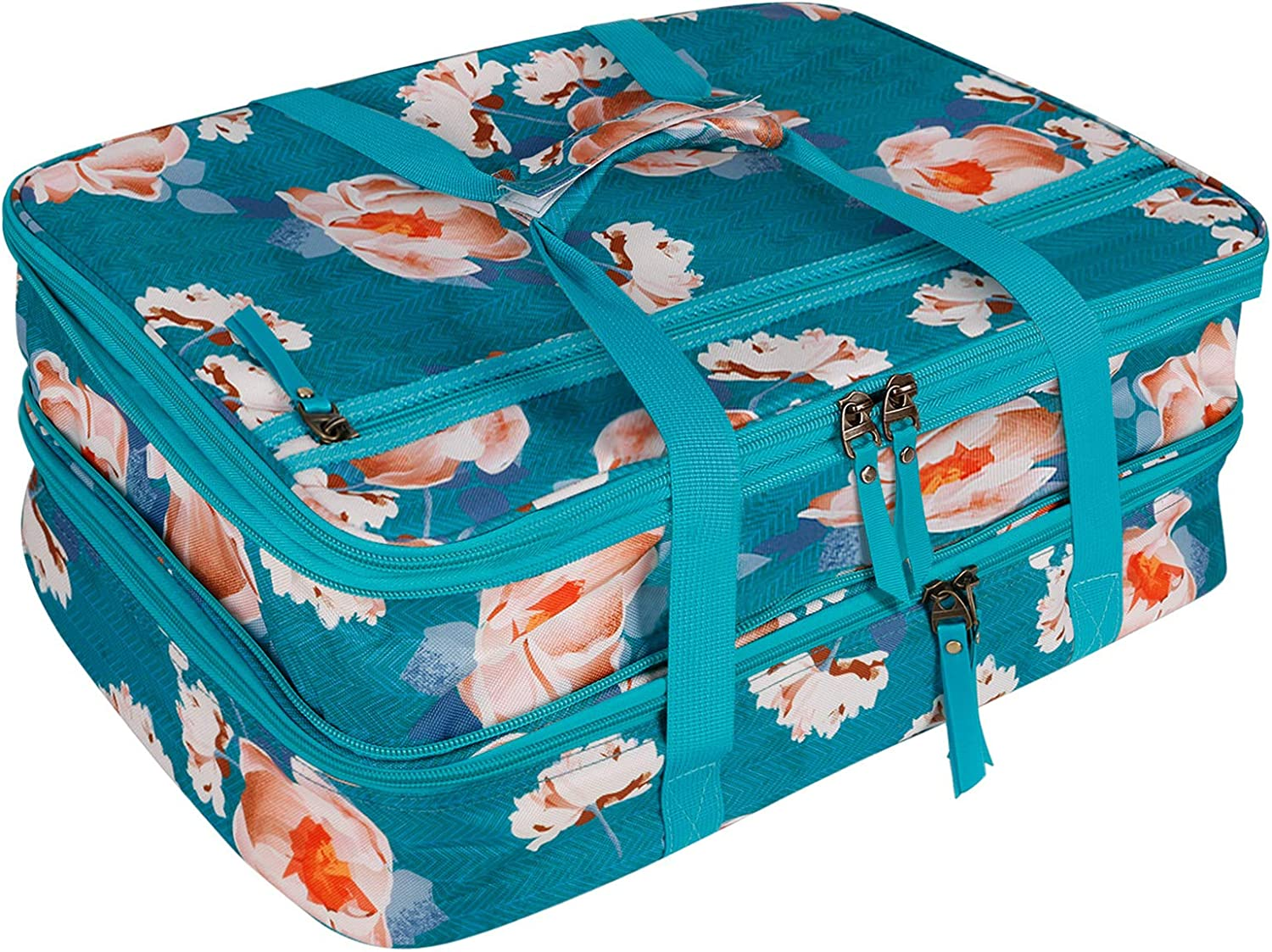 Natur@cho Double Insulated Casserole Travel Lunch Carry Bag, Expandable Thermal Food Lasagna Lugge Tote Carrier for Potluck Parties, Picnic, Beach Cookout Fits 9 x 13 Inches Casserole Dish