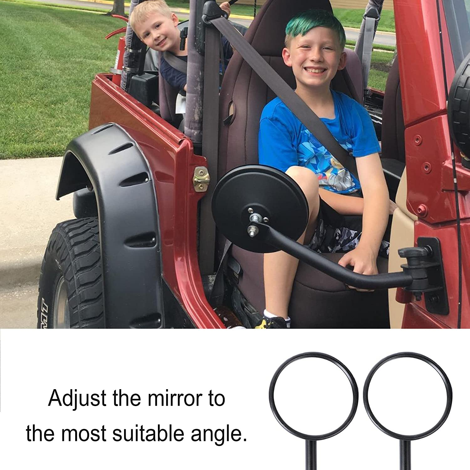 1 Pair Doors off Mirrors 4x4 Doorless Rectangular mirrors for jeep wrangler Side Mirrors for Jeep Qucik Release Mirrors for Jeep TJ JK-JKU CJ JL Textured Black iztor