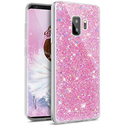 IKASEFU Bling Glitter Diamond Sparkle Luxury Crystal Rhinestone Soft TPU Silicone Rubber Bumper Case Cover Compatible with Samsung Galaxy S9 plus,pink ...