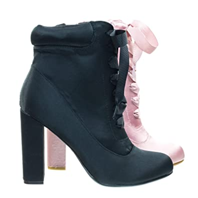a65df789f26 Amazon.com | Satin Lita Block Heel Boots w Padded Collar & Ribbon ...