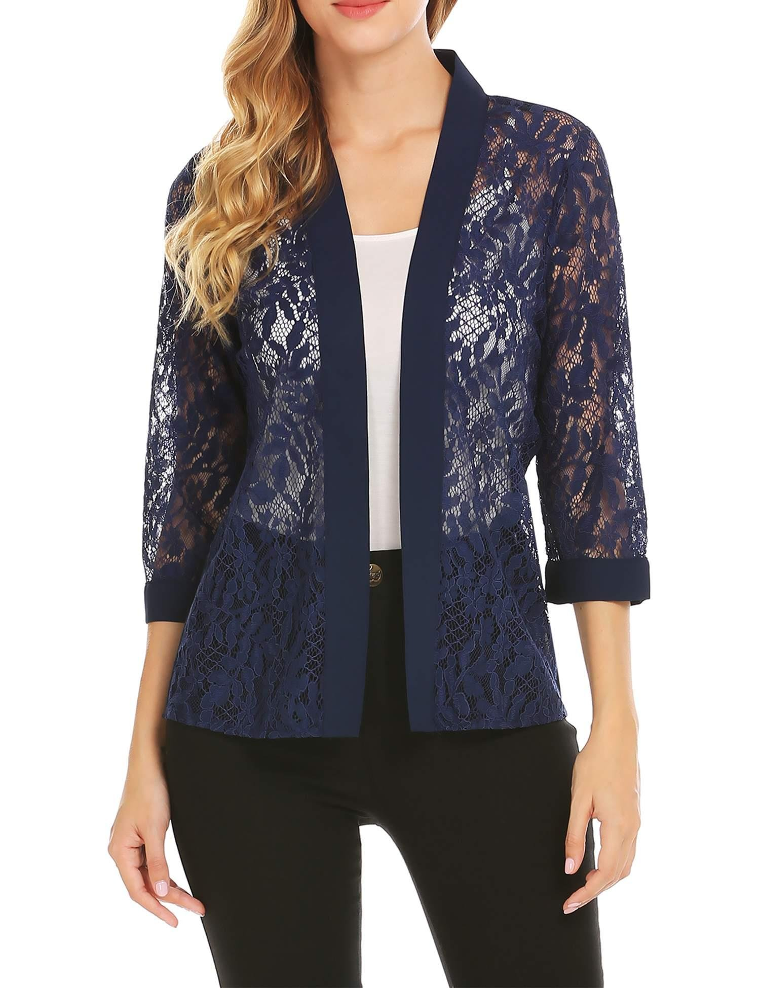 Grabsa Women's Casual 3/4 Sleeve Lace Open Front Cardigan