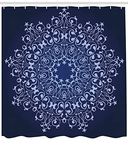 Lunarable Royal Blue Shower Curtain Traditional Persian Turkish Middle Eastern Classic Authentic Pattern Artwork