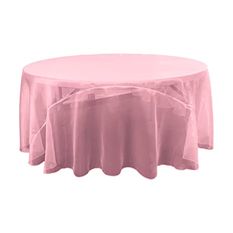 LA Linen Sheer Mirror Organza Round Tablecloth, 120u0026quot;, ...